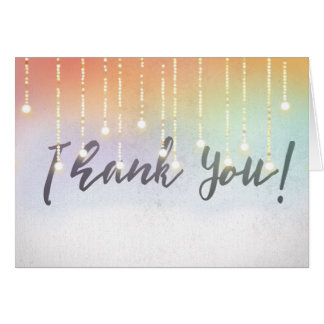 Thank You with glowing light bulbs Card