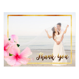 Thank You with pink hibiscus flower wedding photo Postcard