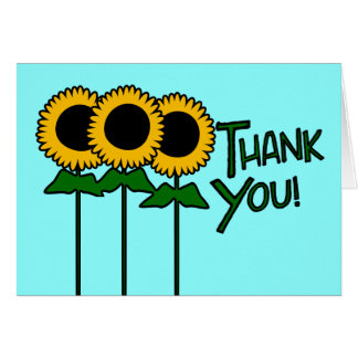 Thank You With Three Outlined Sunflowers Card
