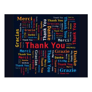 Thank You Word Cloud 5 Languages Black Background Postcard