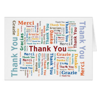 Thank You Word Cloud in 5 languages Card