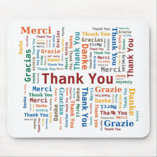 Thank You Word Cloud in 5 languages - Multicolored Mouse Pad