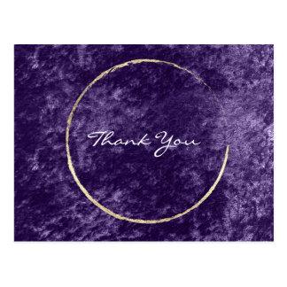 Thank You Wreath Violet Gold Velvet Purple Grape Postcard