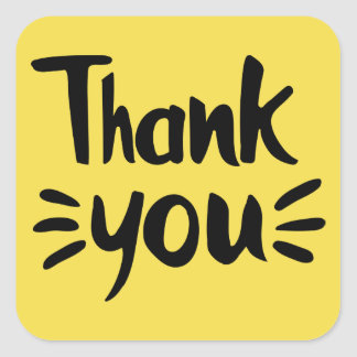 Thank You Yellow And Black Wedding Party Square Sticker