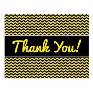 """Thank You!"" + Yellow & Black Wavy Line Pattern Postcard"