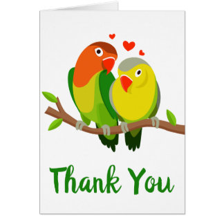 Thank You Yellow & Green Lovebirds Wedding Birds Card