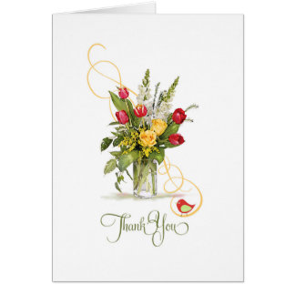 Thank you Yellow Rose and Red Tulip Bouquet Card