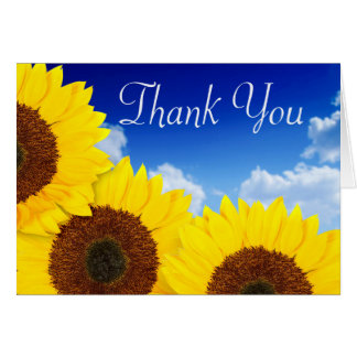 Thank You Yellow Sunflower Floral Blue Notecard