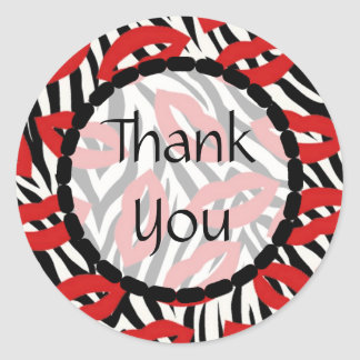 Thank You Zebra Red Lips Kisses Stickers