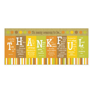"""THANKFUL 2-Sided Scripture Verse Thanksgiving Card 4"""" X 9.25"""" Invitation Card"""