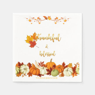 Thankful and Blessed Golden Script Thanksgiving Disposable Napkins