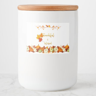 Thankful and Blessed Golden Script Thanksgiving Food Label