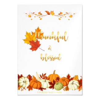 Thankful and Blessed Golden Script Thanksgiving Magnetic Invitations