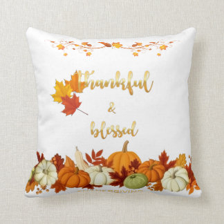 Thankful, Blessed Golden Script Thanksgiving Photo Throw Pillow