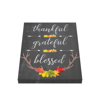 Thankful Blessed Grateful Fall Antler Thanksgiving Canvas Print