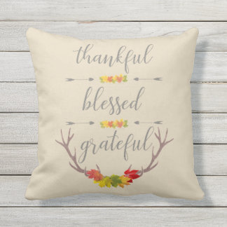 Thankful Blessed Grateful Fall Antler Thanksgiving Throw Pillow