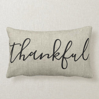 Thankful Burlap | Lumbar Pillow