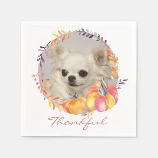 Thankful Chihuahua Thanksgiving Paper Napkins