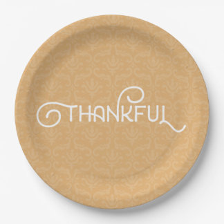 Thankful • Cute autumn damask plates 9 Inch Paper Plate