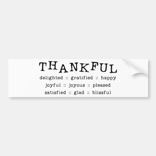 THANKFUL DELIGHTED GRATIFIED HAPPY JOYFUL JOYOUS P BUMPER STICKERS