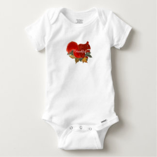 Thankful Fall Rustic Cute Red Squirrel Baby Onesie