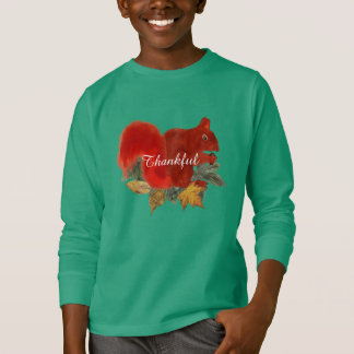 Thankful Fall Rustic Cute Red Squirrel T-Shirt