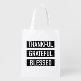 Thankful Grateful Blessed Reusable Grocery Bag