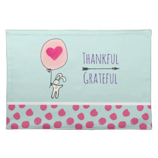 Thankful Grateful Cute Bunny Holding a Balloon Placemat