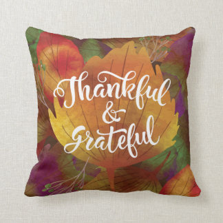 Thankful Grateful Leaves Decorative Throw Pillow