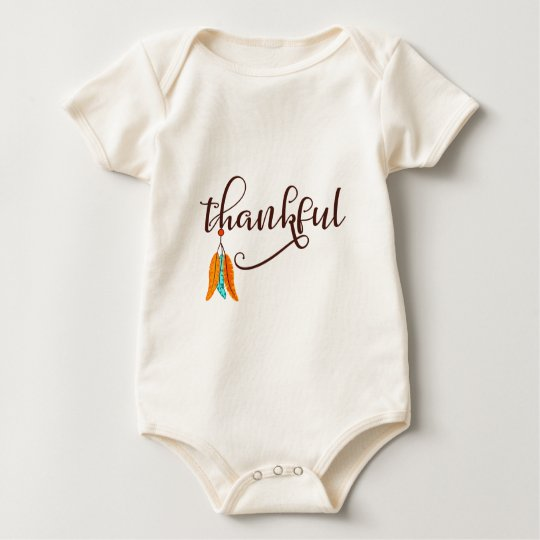 Thankful in fancy font with feathers baby bodysuit
