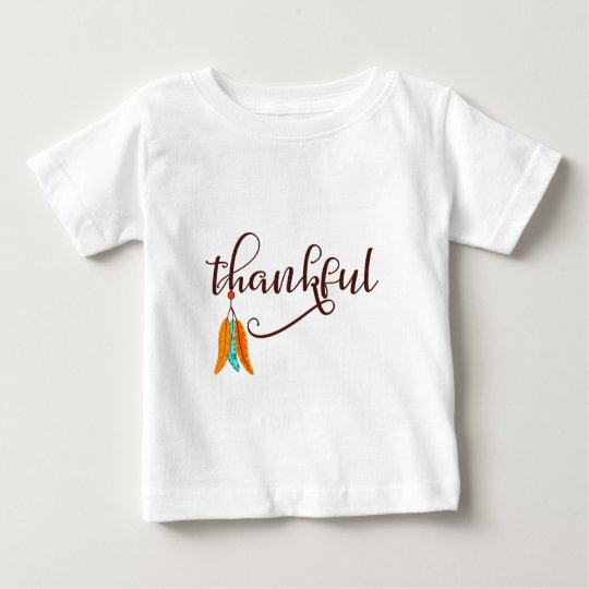 Thankful in fancy font with feathers baby T-Shirt