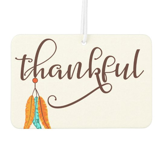 Thankful in fancy font with feathers car air freshener