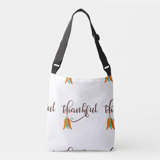 Thankful in fancy font with feathers crossbody bag