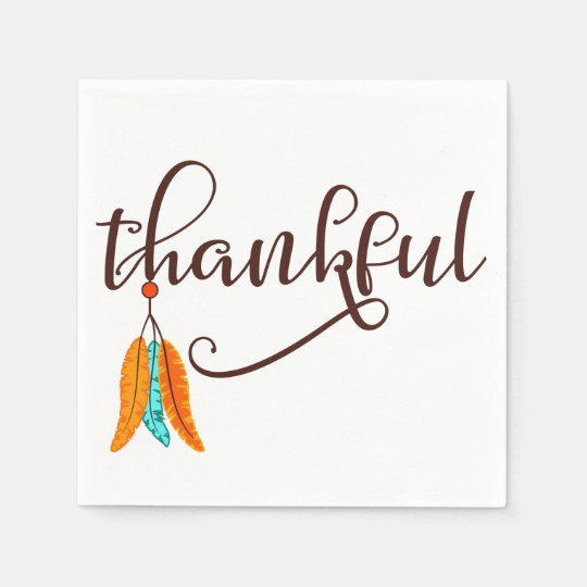Thankful in fancy font with feathers disposable napkins