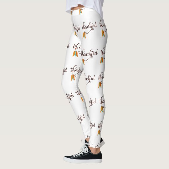 Thankful in fancy font with feathers leggings