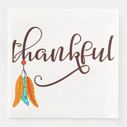Thankful in fancy font with feathers paper napkin