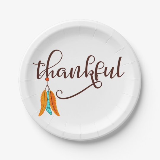 Thankful in fancy font with feathers paper plate