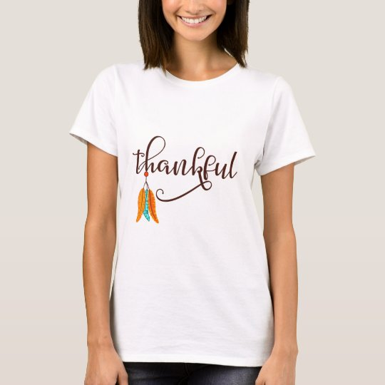 Thankful in fancy font with feathers T-Shirt