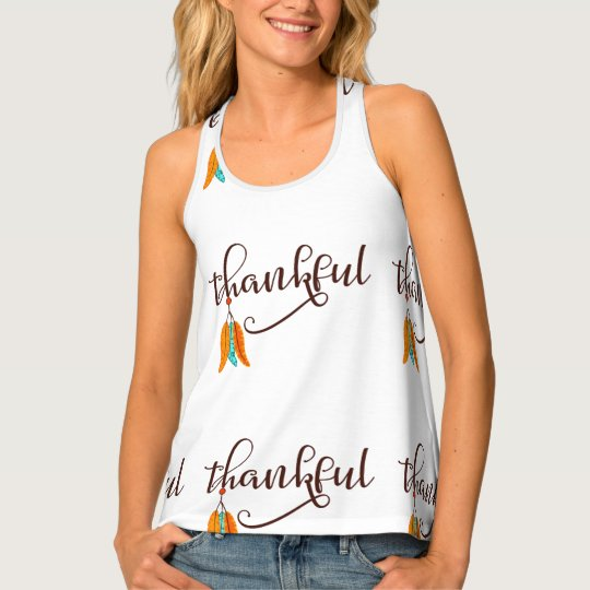 Thankful in fancy font with feathers tank top