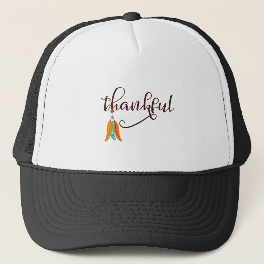 Thankful in fancy font with feathers trucker hat