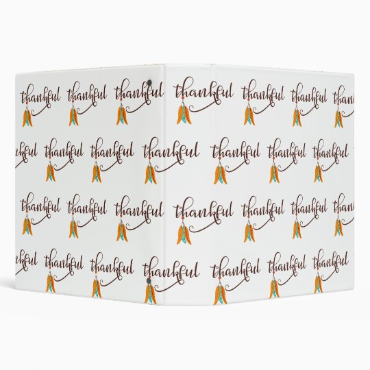 Thankful in fancy font with feathers vinyl binder