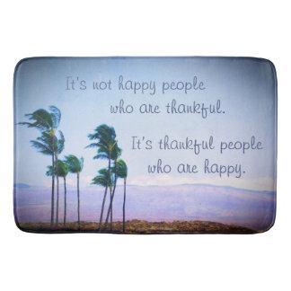 """Thankful People"" Quote Hawaii Palm Trees Photo Bath Mat"