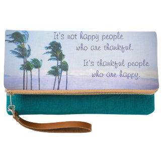 """""""Thankful People"""" Quote Hawaii Palm Trees Photo Clutch"""