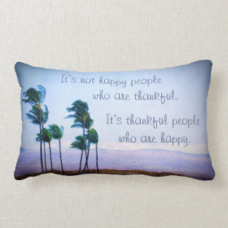 """Thankful People"" Quote Hawaii Palm Trees Photo Lumbar Pillow"