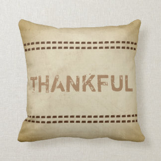 thankful quote pillow rustic chic style sepia tone