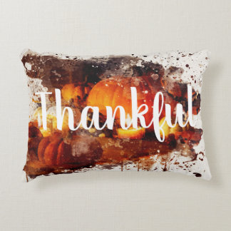 """Thankful"" Thanksgiving Decorative Accent Pillow"