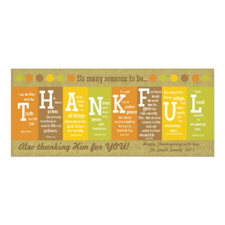 "THANKFUL Thanksgiving Scripture Card-Customize It! 4"" X 9.25"" Invitation Card"