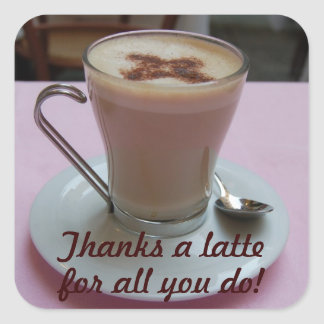 Thanks a latte appreciation stickers