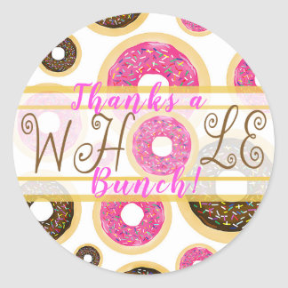 Thanks a Whole Bunch Pink & Brown Donuts Party Classic Round Sticker