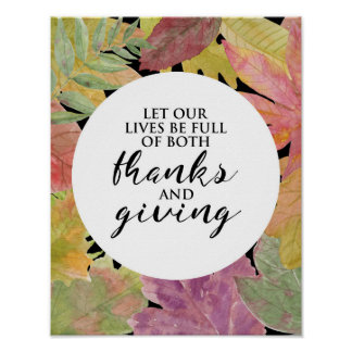Thanks and Giving - Leaves Typography - Poster